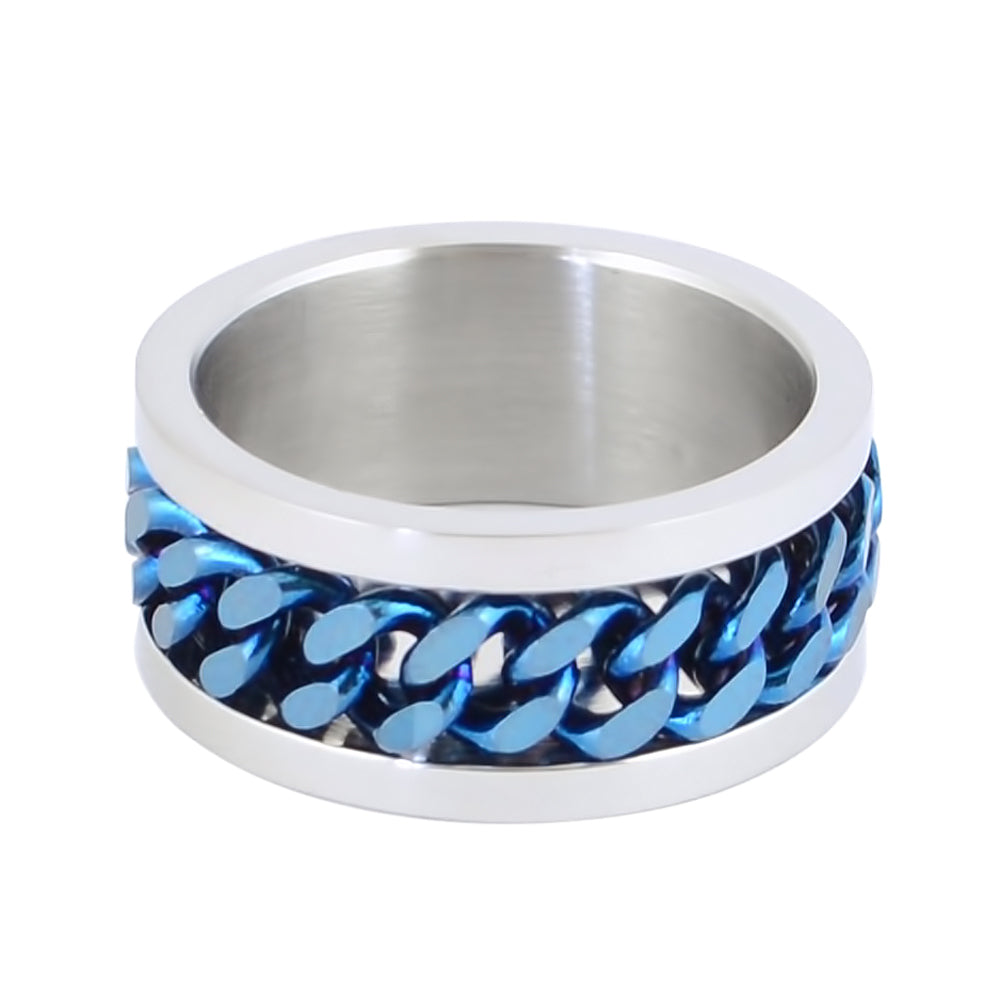 SK1780D Silver/Blue Edition  Gents Cuban Link Spinner Ring Stainless Steel Motorcycle Jewelry  Size 8-15