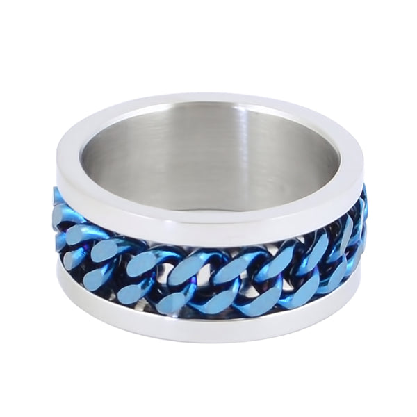 SK1780 Silver/Blue Edition  Gents Cuban Link Spinner Ring Stainless Steel Motorcycle Jewelry  Size 8-15
