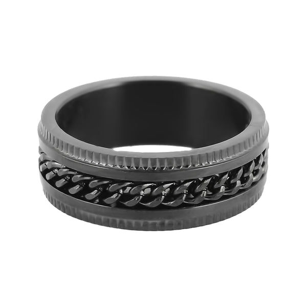 SK1780  Black/Black Edition  Gents Cuban Link Spinner Ring Stainless Steel Motorcycle Jewelry  Size 8-15