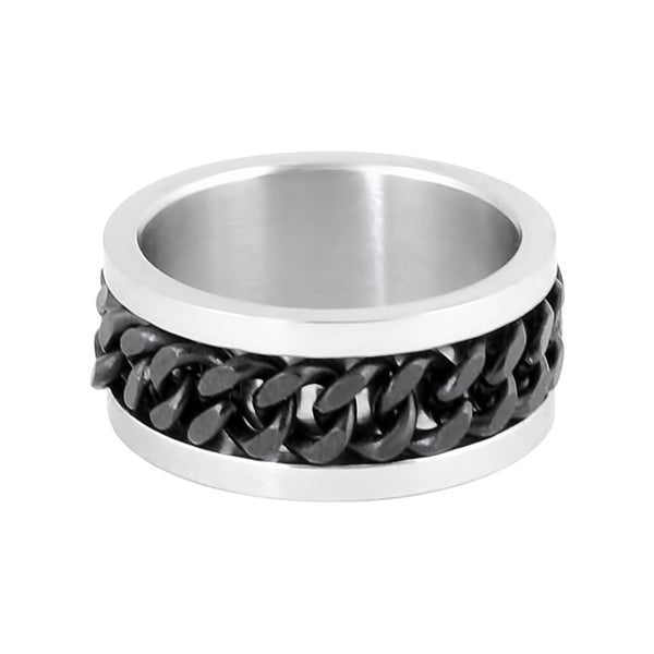 SK1780B Silver/Black Edition  Gents Cuban Link Spinner Ring Stainless Steel Motorcycle Jewelry  Size 8-15