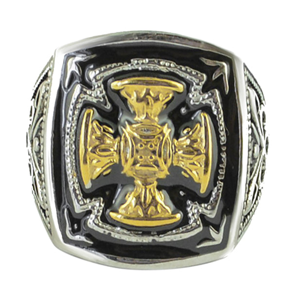 SK1781  Gents  Gold Edition Florenzada Cross Ring Stainless Steel Motorcycle Jewelry  Size 9-15