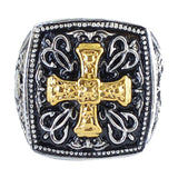 SK1782  Gents Gold Edition Greek Cross Ring Stainless Steel Motorcycle Jewelry  Size 9-14