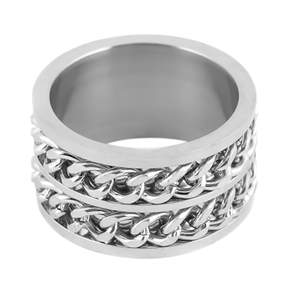 SK1788  Gents Double Chain Cuban Link Spinner Ring Stainless Steel Motorcycle Jewelry  Size 8-15