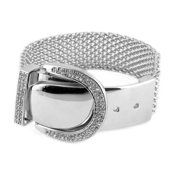 "SK1790 Ladies Bling Belt Buckle Bracelet 8"" Adjustable Stainless Steel Motorcycle Jewelry"