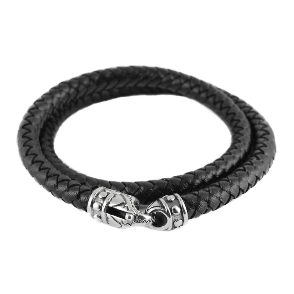 SK1793 Black Braid Leather Wrap Around Bracelet