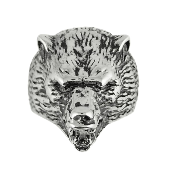 SK1845  Gents Grizzly Bear Ring Stainless Steel Motorcycle Jewelry  Size 9-15