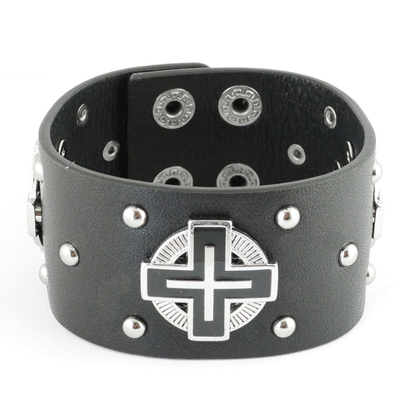 SK2101 Men's Halo Christian Cross Leather Bracelet
