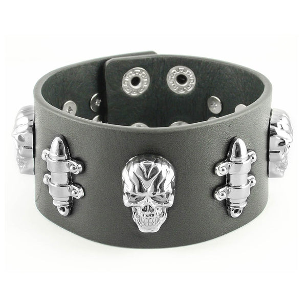 SK2102 Men's Skull & Bullet Leather Bracelet