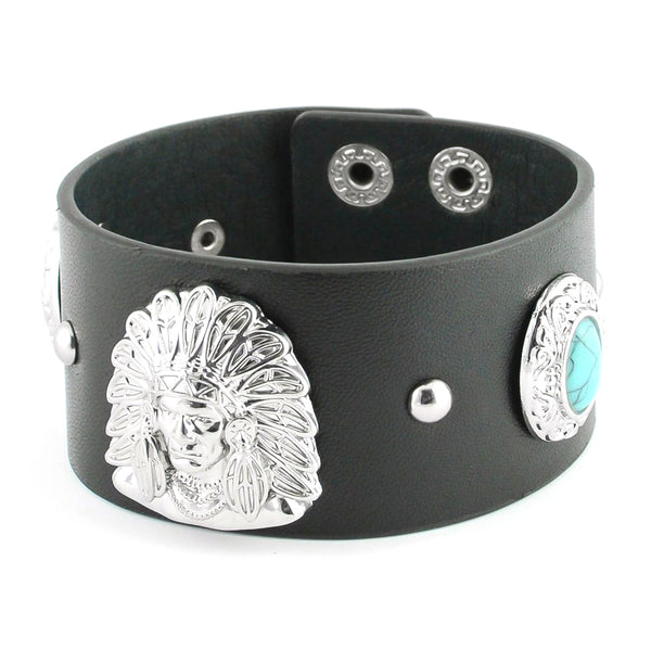 SK2104 Men's Indian Head & Imitation Turquoise Leather Bracelet