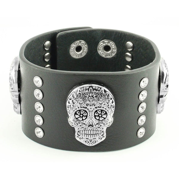 "SK2106 Woman's Sugar Skull Leather Bracelet Adjustable 7.5""- 8"""