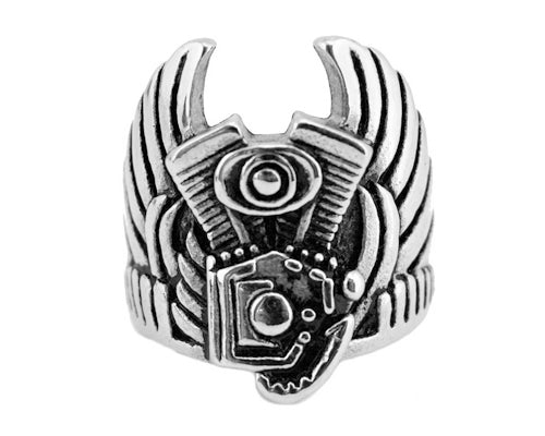 SK2231 Gents Engine With Wings To Heaven Ring Stainless Steel Motorcycle Jewelry Size 9-15