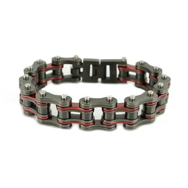 "SK2256 3/4"" Wide All New Gunmetal/Candy Red Finish Stainless Steel Motorcycle Chain Bracelet"