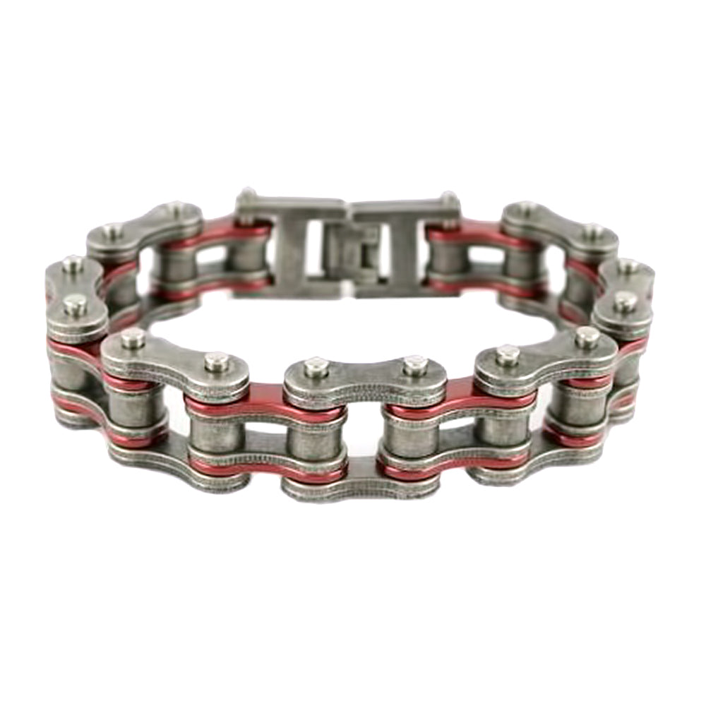 "SK2257 Stainless Steel 3/4"" Wide Two Tone Distressed/Candy Red Motorcycle Chain Bracelet"