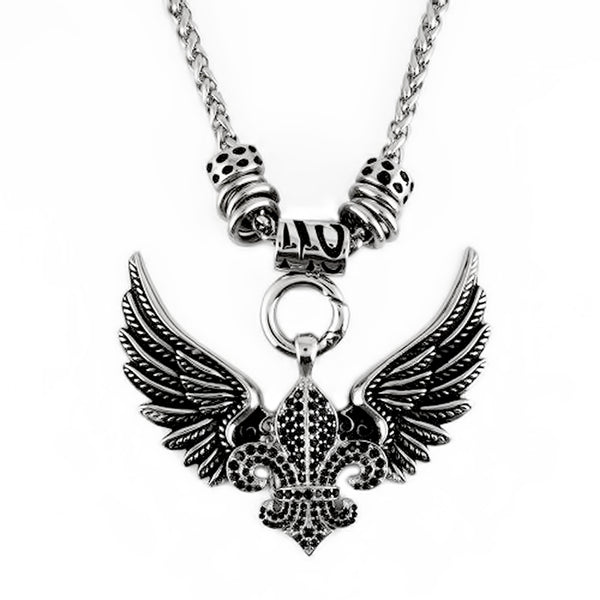 "SK2260 BLACK Ladies Angel Open Wing & Cross Black Bling Pendant With 4mm Foxtail Necklace 19"" Stainless Steel"