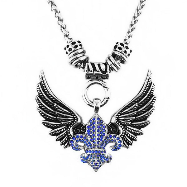 "SK2260BLU Ladies Angel Open Wing & Cross Blue Bling Pendant With 4mm Foxtail Necklace 19"" Stainless Steel"