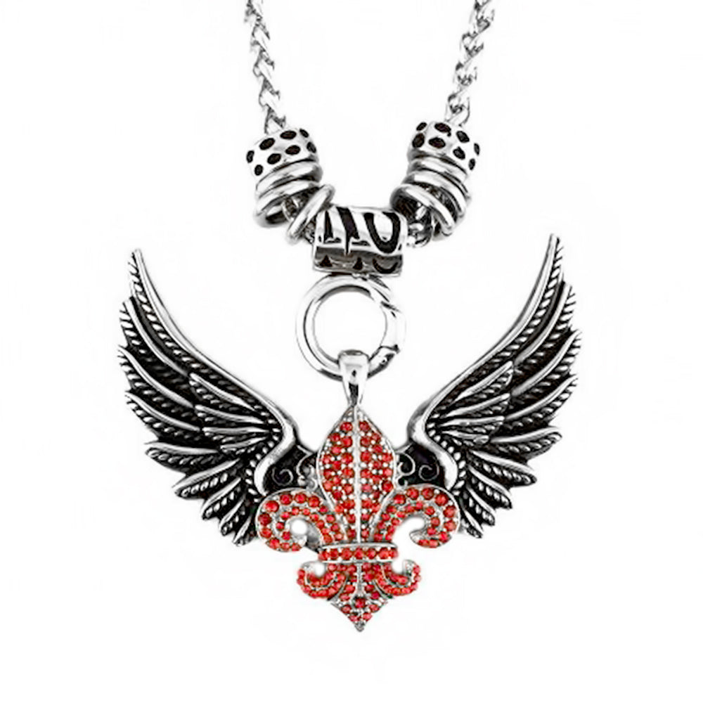 "SK2260RED Ladies Angel Open Wing & Cross Red Bling Pendant With 4mm Foxtail Necklace 19"" Stainless Steel"