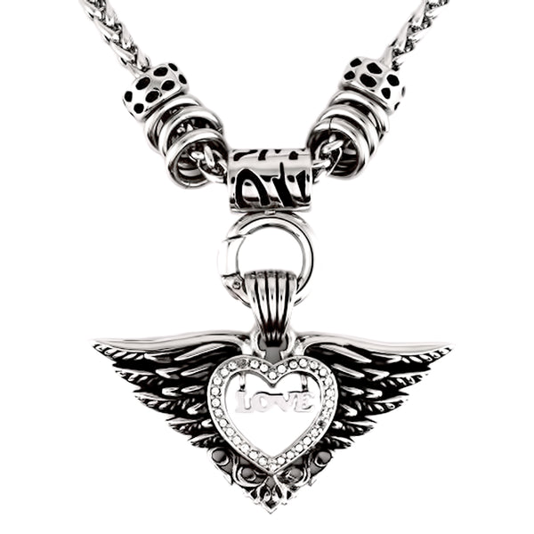 SK2261 Ladies Love Winged Charm Pendant Stainless Steel Motorcycle Jewelry