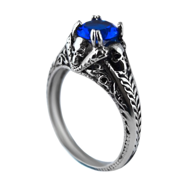 SK2263 Stainless Steel Ladies Skull with Imitation Blue Stone Ring  Stainless Steel Motorcycle Biker Jewelry Size 6-10