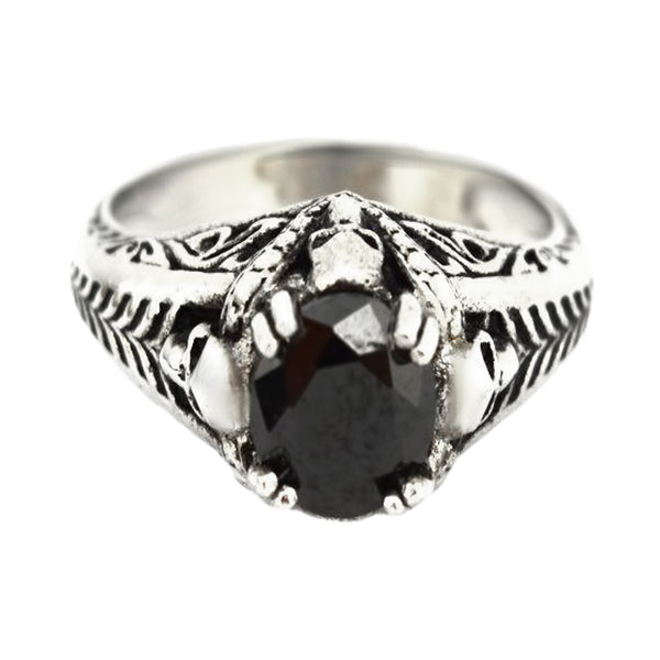 SK2264 Ladies Solitaire Skull Ring Imitation Black Stone Stainless Steel Motorcycle Biker Jewelry Sizes 6-10