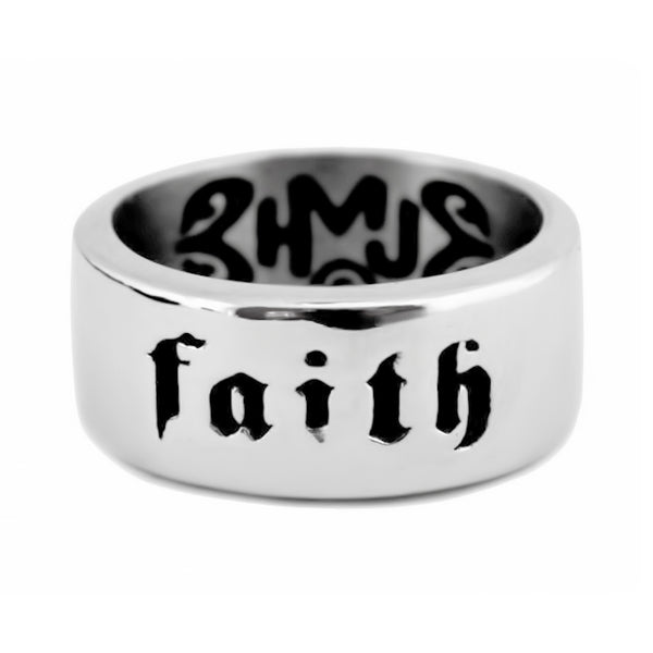 SK2267 Faith Ring In Our God Yahshua Stainless Steel Motorcycle Christian Biker Jewelry Sizes 7-15