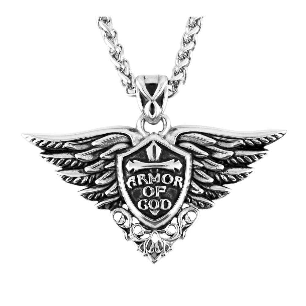 "SK2272B Armor of God Pendant With 22"" Chain Stainless Steel Motorcycle Jewelry"