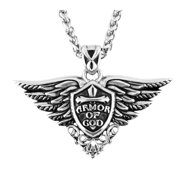 "SK2272B Armor of God Pendant With 24"" Foxtail Chain Stainless Steel Motorcycle Jewelry"