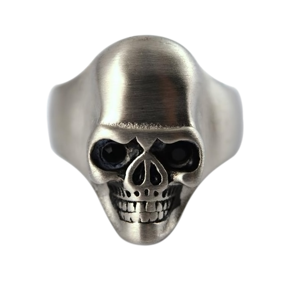 SK2274 Gents Brushed Skull Ring Stainless Steel Motorcycle Biker Ring Size 9-15