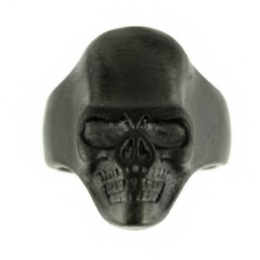 SK2275 Gents Brushed GUNMETAL Skull Ring Stainless Steel Motorcycle Biker Ring Size 9-15
