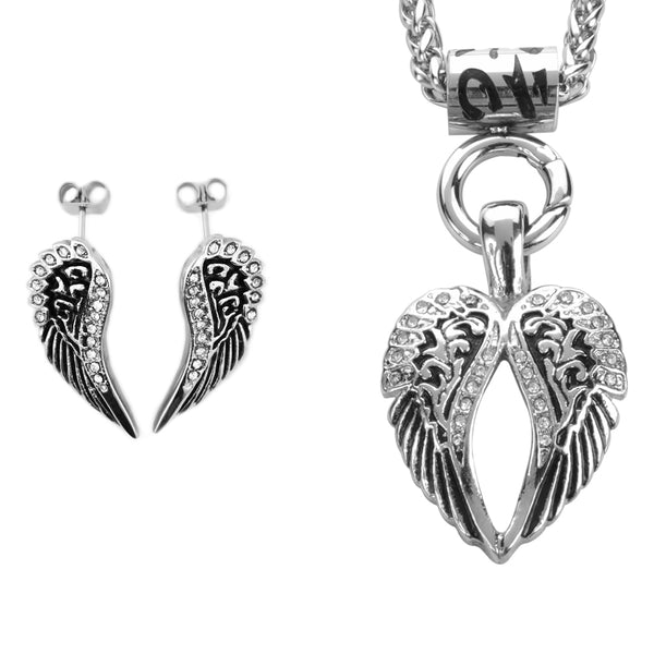 "SK2280 Wing Necklace 19"" With Post Wing Earrings"