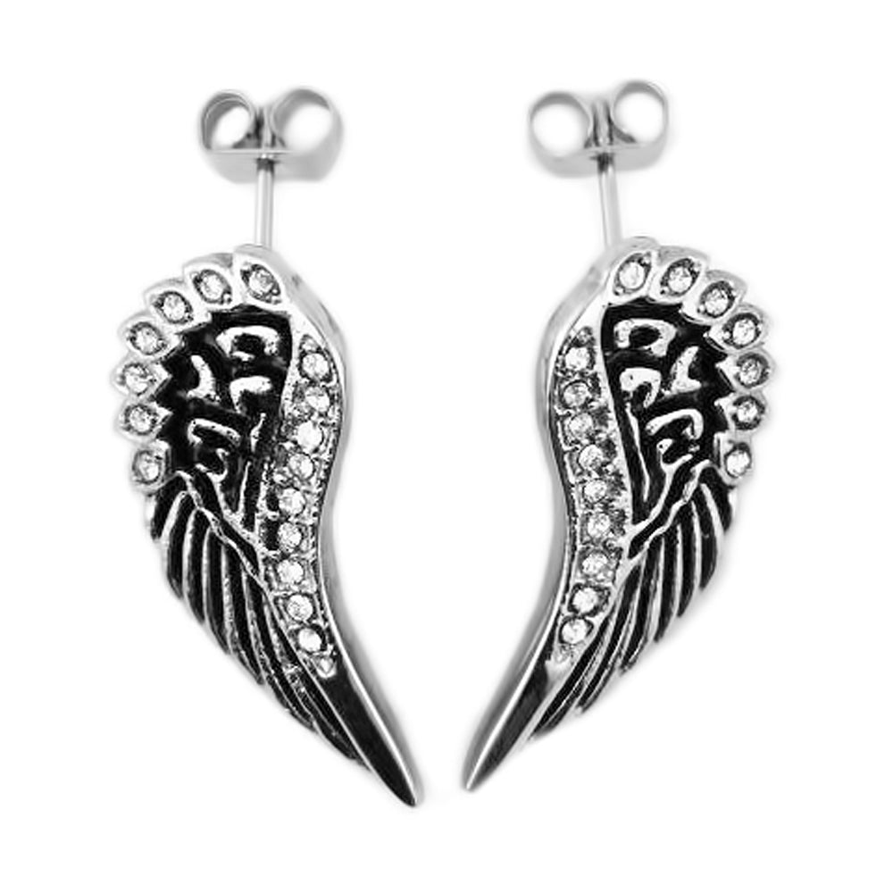 SK2281 Wing Post Earrings Black Enamel With Bling Imitation Diamonds