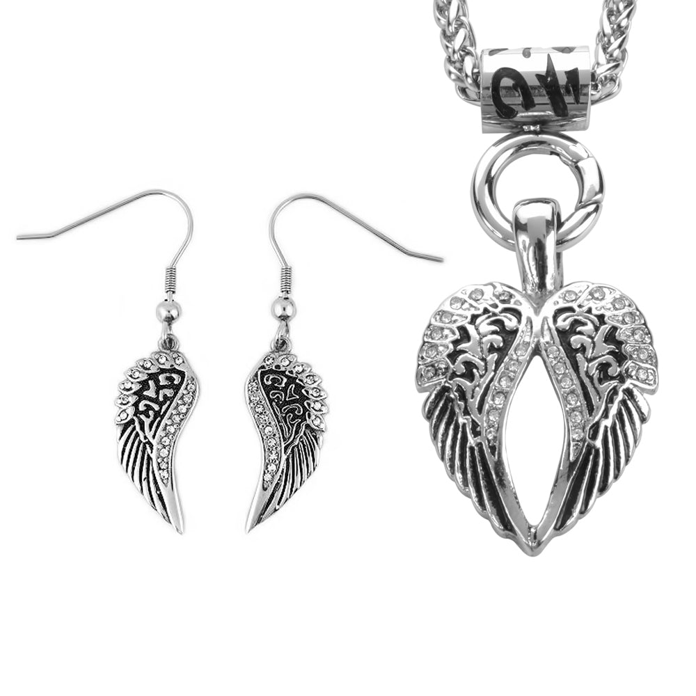 "SK2282 Wing Bling 19"" Necklace With Wing Bling French Wire Earrings Imitation Diamonds"