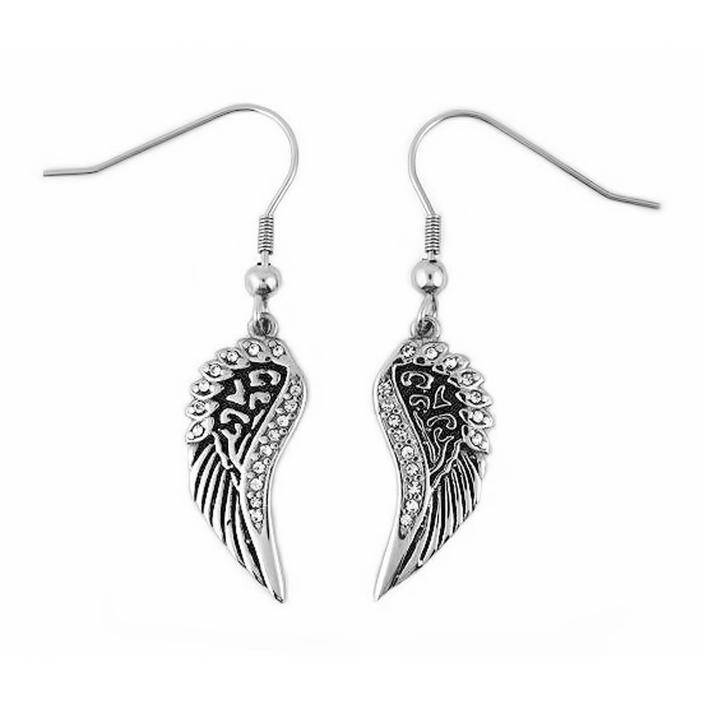 SK2283 Wing Bling Earrings French Wire Imitation Diamonds Stainless Steel
