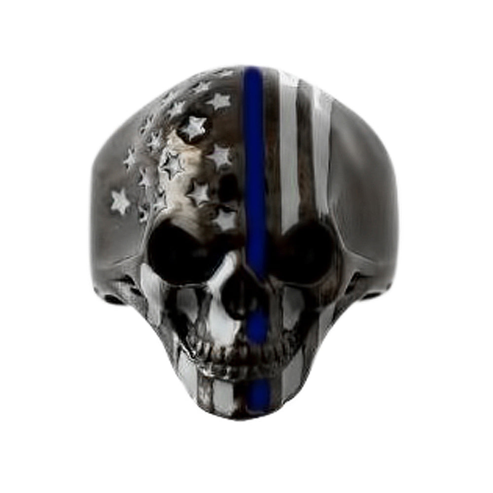 SK2295 American Flag Skull Ring Stainless Steel Gunmetal Finish Thin Blue Line