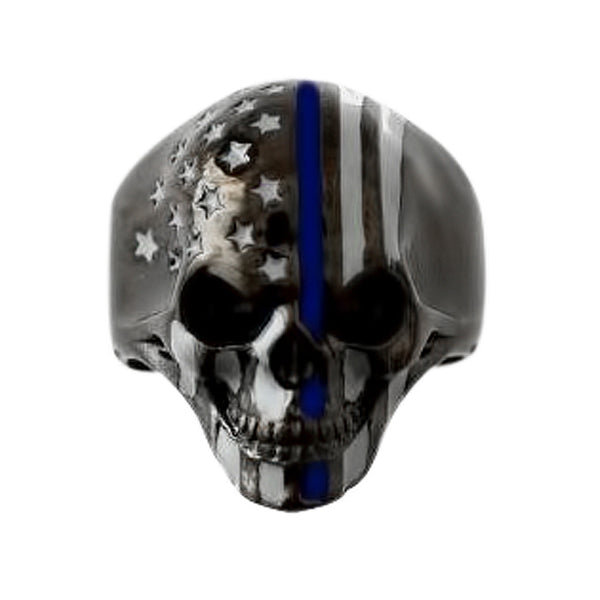 SK2295 American Flag Skull Ring Stainless Steel Gunmetal Finish Thin Blue Line Size 9-16