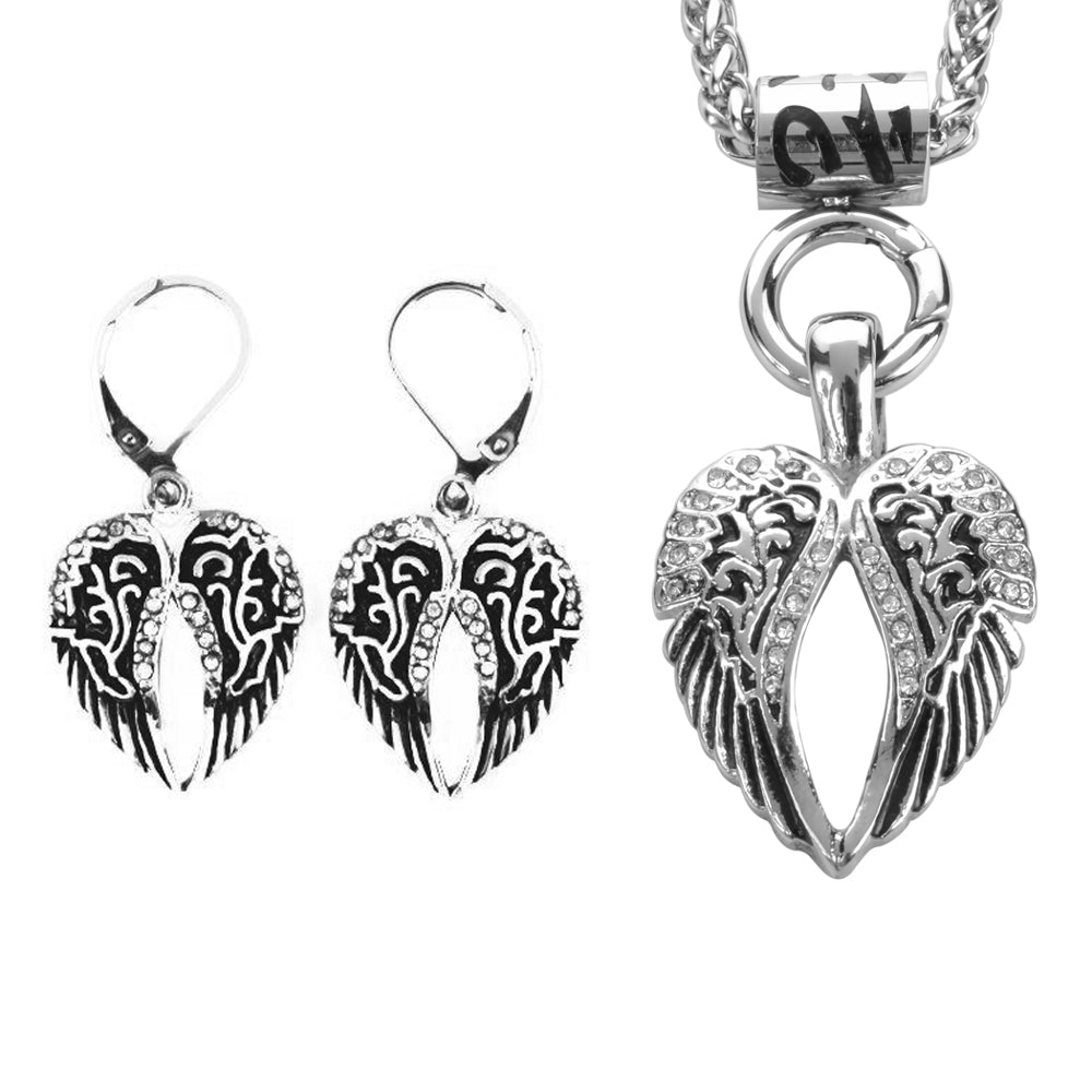 "SK2296 Wing Bling 19"" Necklace With Wing Bling Lever Back Earrings Imitation Diamonds"