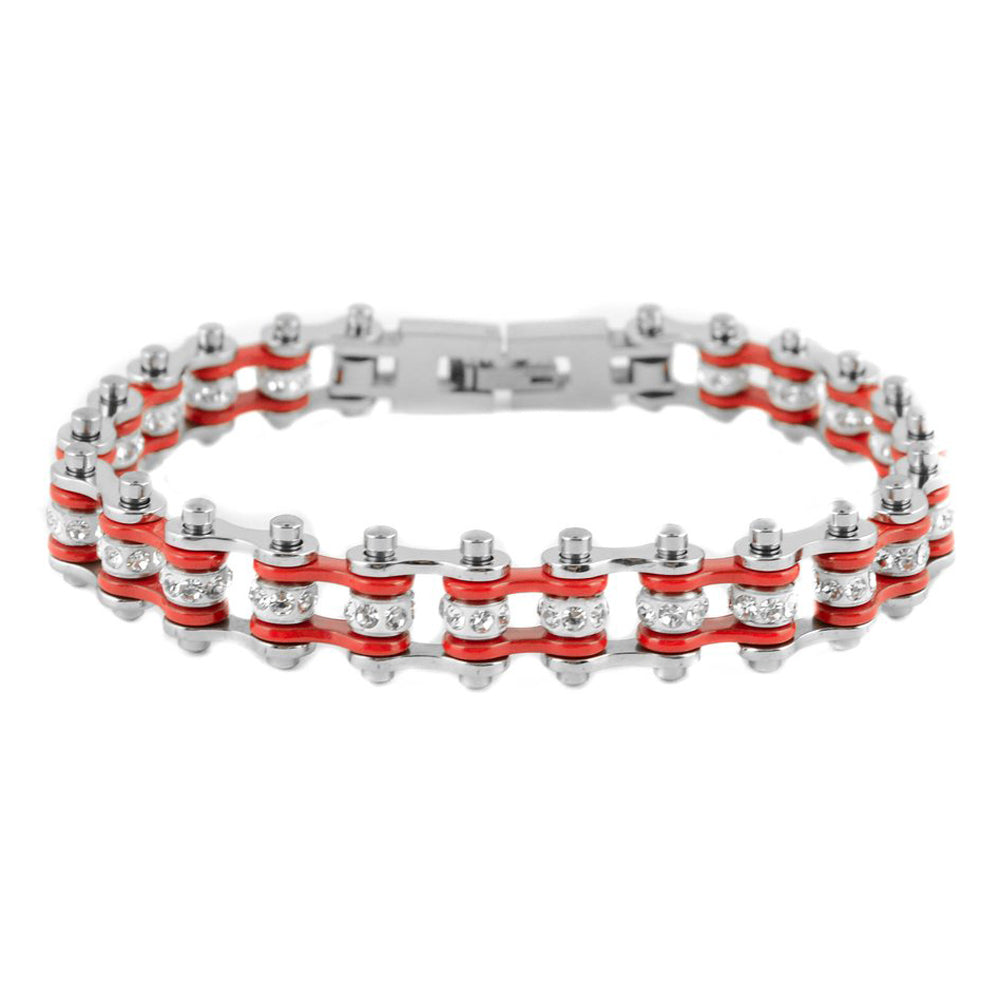 "SK2001 1/2"" Wide MINI MINI SIZE Two Tone Silver Red With White Crystal Centers Stainless Steel Motorcycle Bike Chain Bracelet"