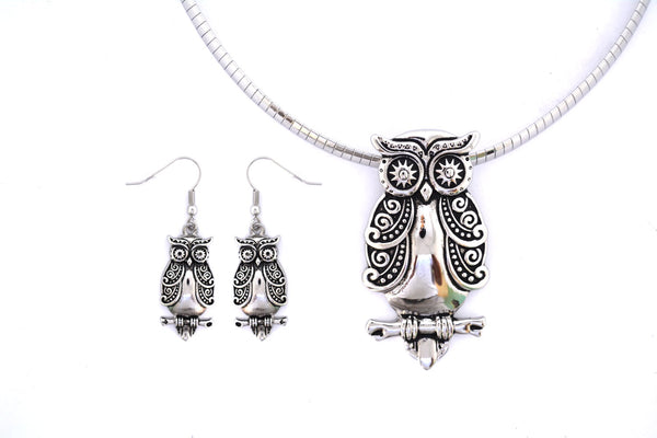 SK2500 Owl Pendant Matching Earrings With Omega Necklace Stainless Steel Jewelry