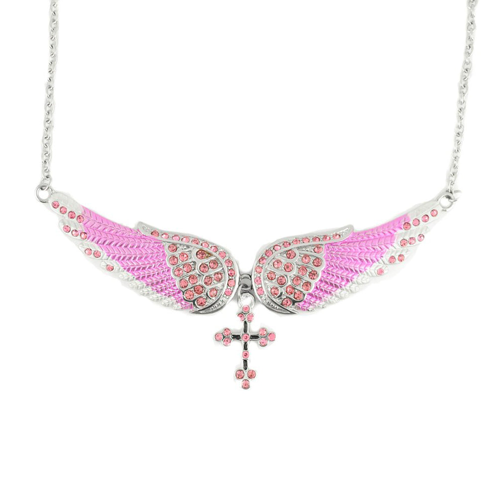 SK2245 Large Pink Painted Winged Necklace With Cross Pink Imitation Crystals