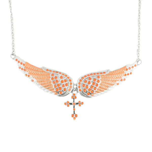 SK2246 Orange Painted Winged Necklace With Cross Orange Imitation Crystals