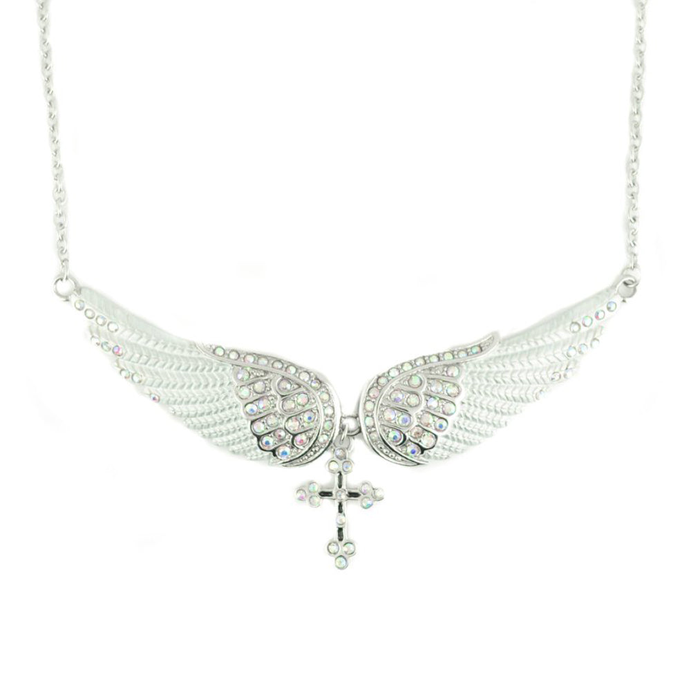 SK2253 White Painted Winged Necklace With Cross White Imitation Crystals