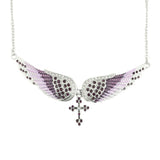 SK2251 Purple Painted Winged Necklace With Cross Purple Imitation Crystals