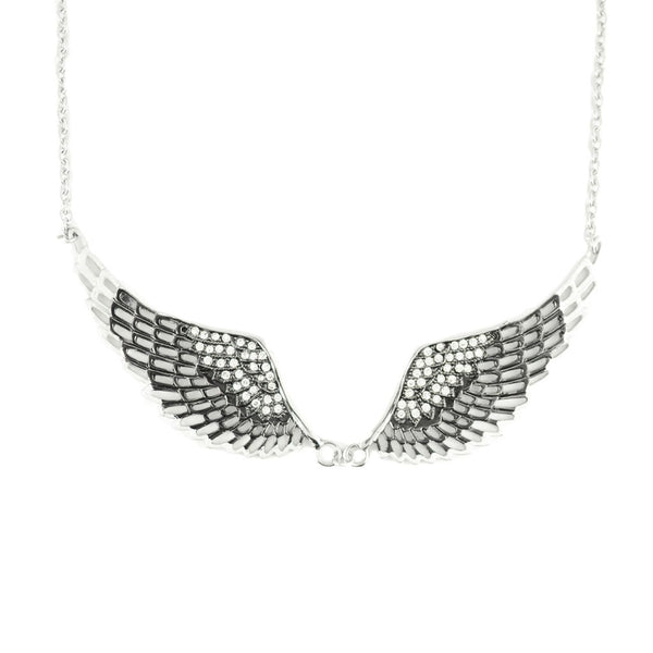 SK2236 Black Painted Winged Necklace White Imitation Crystals
