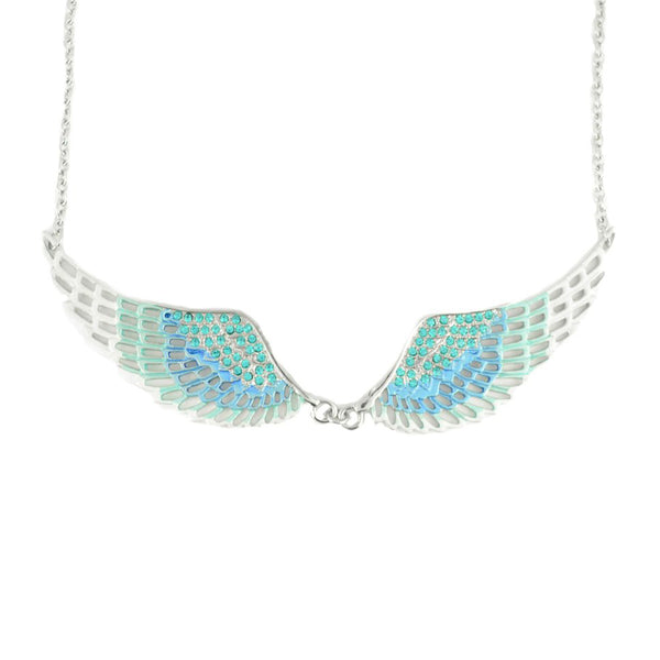 SK2237 Blue Painted Winged Necklace   Blue Imitation Crystal