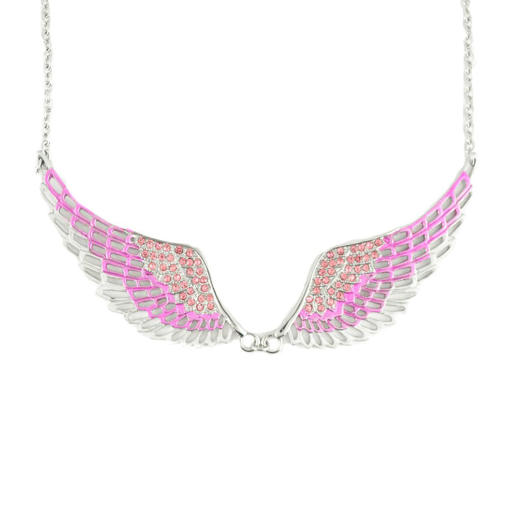SK2238 Pink Painted Winged Necklace  Pink Imitation Crystal