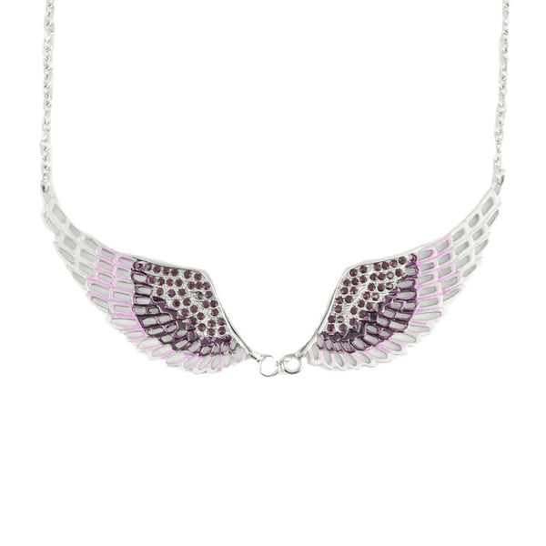 SK2239 Purple Painted Winged Necklace  Purple Imitation Crystal