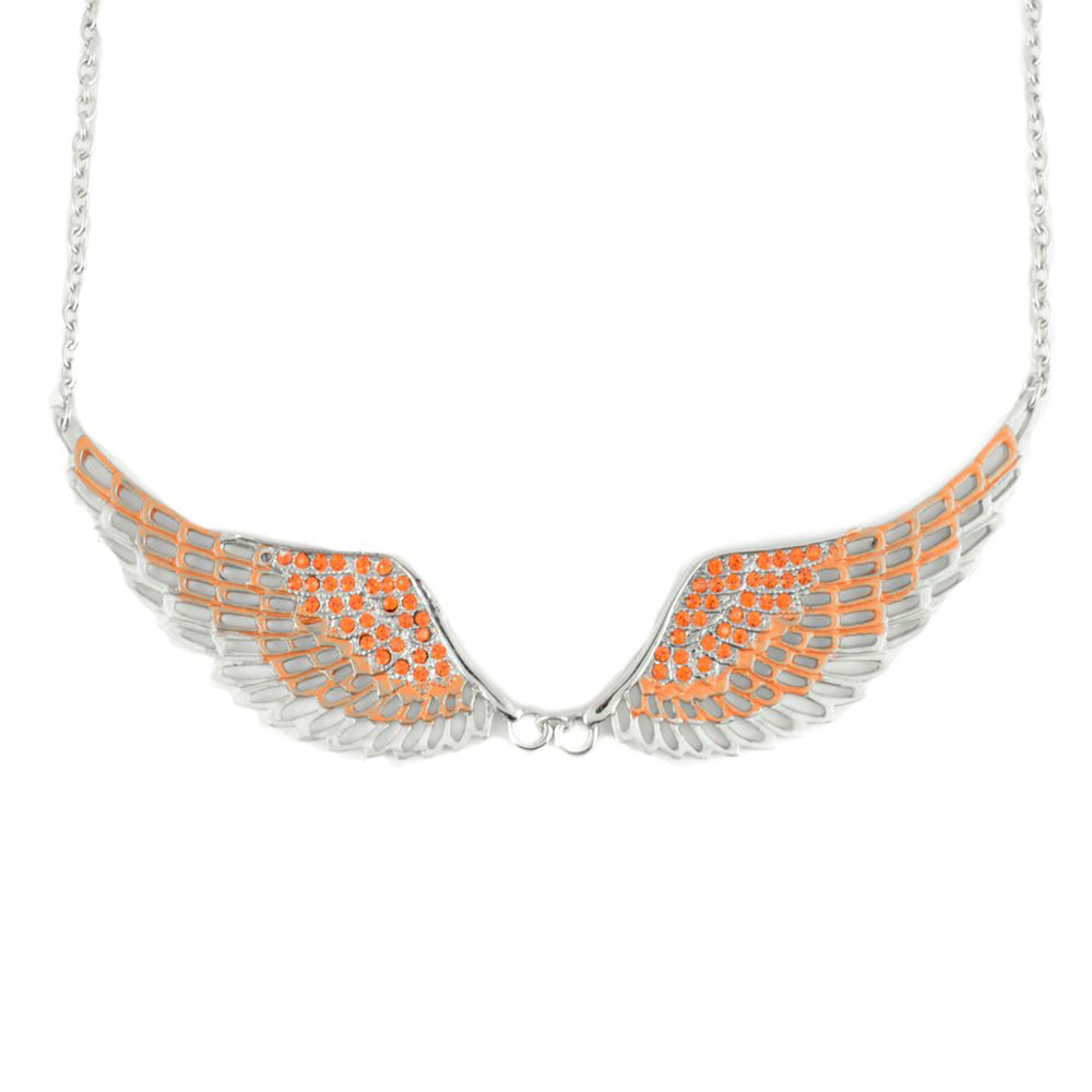 SK2241 Orange Painted Winged Necklace Orange Imitation Crystals