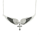 SK2242 Black Painted Winged Necklace With Cross White Imitation Crystals