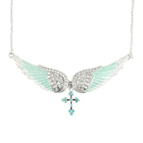 SK2244 Seafoam Green Painted Winged Necklace With Cross White Imitation Crystals