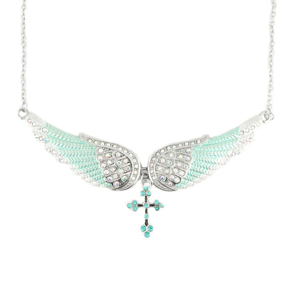SK2244 Sea Foam Green Painted Winged Necklace With Cross White Imitation Crystals