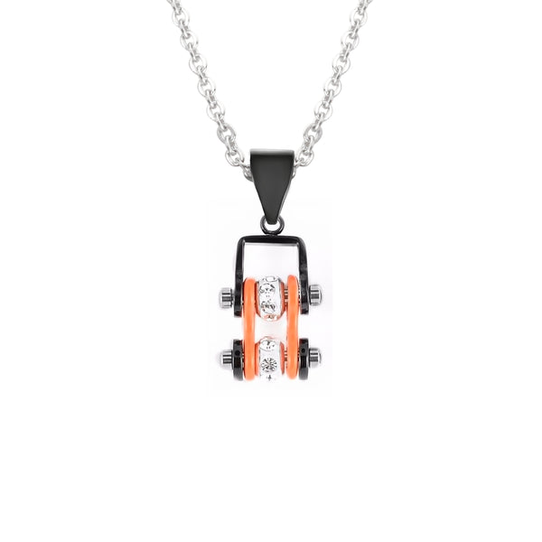 SK2012N Pendant Mini Mini Chain Link With Necklace Black Orange Stainless Steel